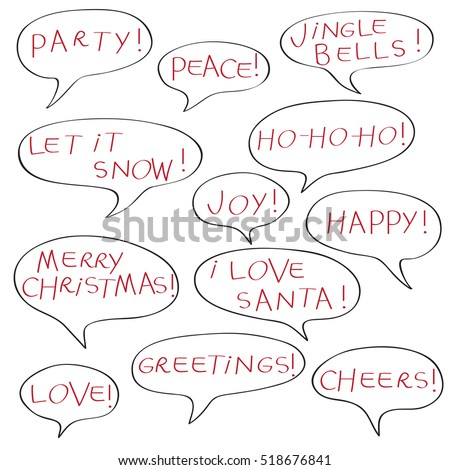 Comics speech bubbles christmas greetings text stock illustration comics speech bubbles with christmas greetings text elements isolated isolated on white m4hsunfo