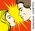Comics style couple (raster version) - stock photo