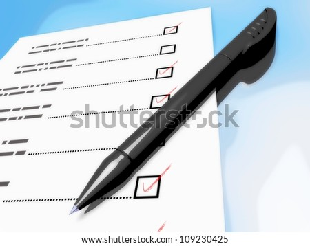 Comics-style illustration of a pen laying on a check-list - stock photo