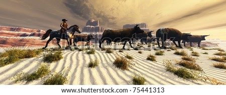 COMING HOME - A cowboy brings his herd of cattle home after a long day of rounding them up. - stock photo