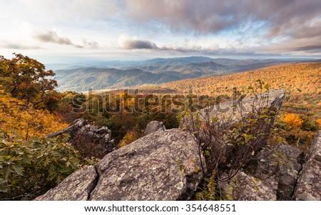 Coming of Fall Season to Shenandoah National Park - stock photo