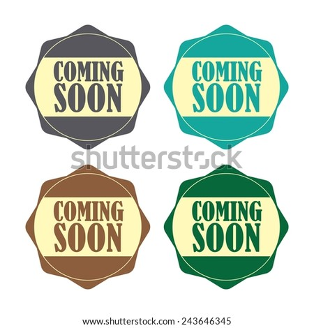 Coming soon colorful label, Product Badge - icon isolated on white background. - stock photo