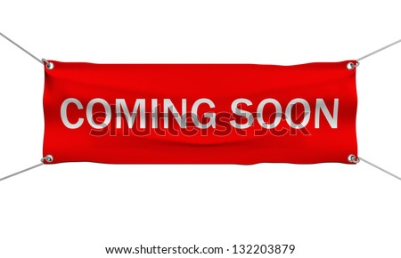 Coming Soon message banner 3d illustration isolated