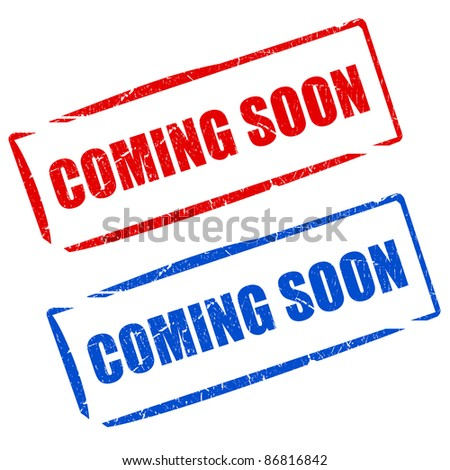 Coming soon stamps set - stock photo