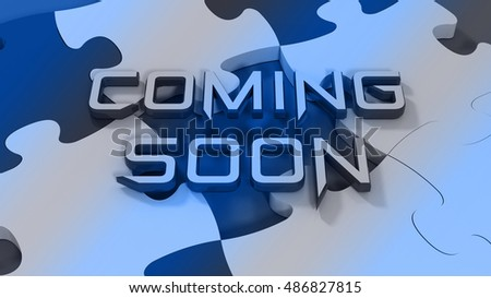 Coming soon text with color puzzle background.3D rendering