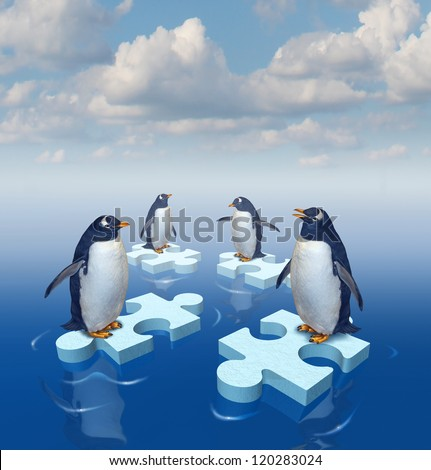 Coming together with common purpose to assemble a team partnership to form a strong group with four penguins merging floating chunks of ice in the shape of puzzle pieces as insurance..