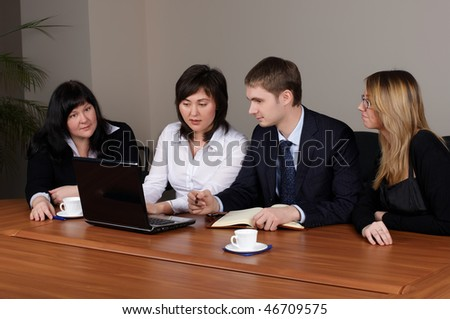 Command of businessmen at office - stock photo