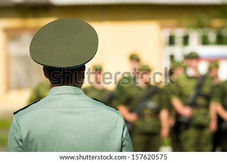 Commander addressing his soldiers - Russian Army - stock photo