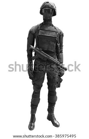 Commando police officer SWAT in black uniform and face mask isolated on white background with clipping path - stock photo