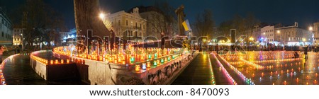 Commemoration for the millions of Ukrainians - victims of the famine-genocide of 1932-33y. (Lvov-City, Ukraine, 24.11.2007) - stock photo