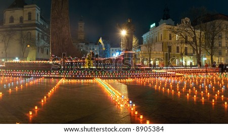 Commemoration for the millions of Ukrainians - victims of the famine-genocide of 1932-33y. (Lvov-City, Ukraine, 24.11.2007) http://www.holodomor.org/ http://en.wikipedia.org/wiki/Holodomor - stock photo