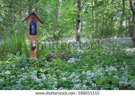 Commemorative cross in wild garlic covered forest