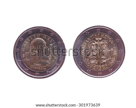 Commemorative 2 EUR coins currency of the European Union, bearing the portrait of Galileo Galilei (Italy 2014) and Cyril and Methodius (Slovakia 2013) - stock photo