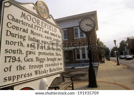 Commemorative plaque in Moorefield, WV - stock photo