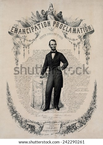Commemorative print of Abraham Lincoln with the text of the Emancipation Proclamation of January 1, 1863. Print published in 1865. - stock photo