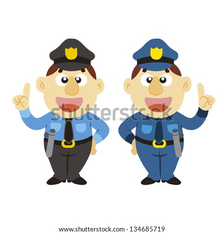 commentary by a funny cartoon policeman, two colors