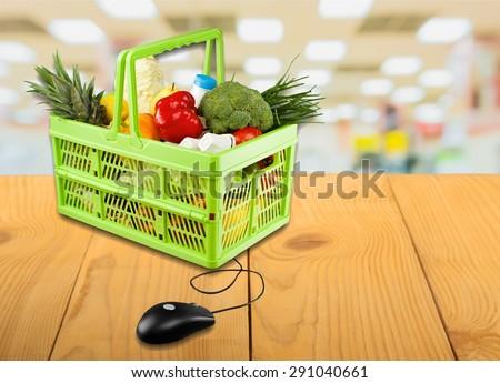Commerce, computer, ecommerce. - stock photo