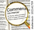 Commerce Definition Magnifier Shows Trading Buying And Selling - stock photo