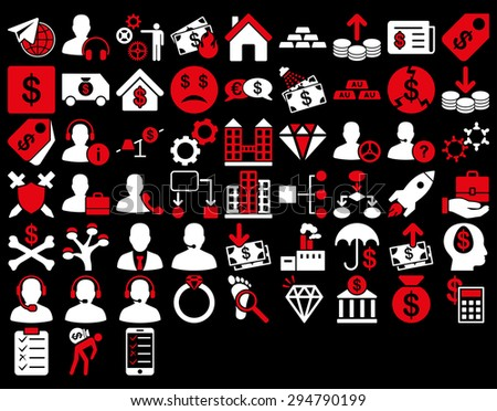 Commerce Icon Set. These flat bicolor icons use red and white colors. Glyph images are isolated on a black background.  - stock photo