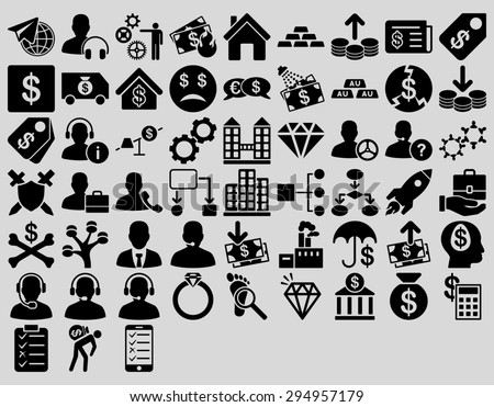 Commerce Icon Set. These flat icons use black color. Glyph images are isolated on a light gray background.  - stock photo