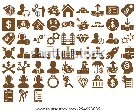 Commerce Icon Set. These flat icons use brown color. Glyph images are isolated on a white background.  - stock photo