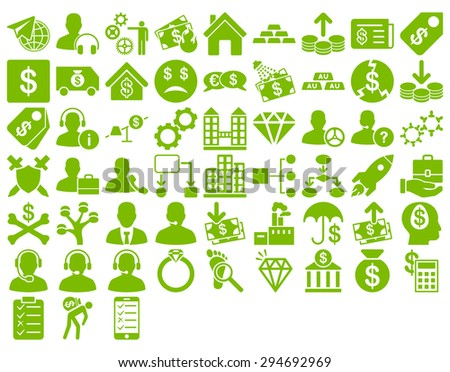 Commerce Icon Set. These flat icons use eco green color. Glyph images are isolated on a white background.  - stock photo