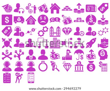 Commerce Icon Set. These flat icons use violet color. Glyph images are isolated on a white background.  - stock photo