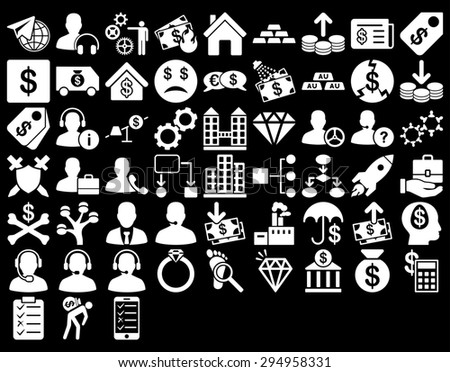 Commerce Icon Set. These flat icons use white color. Glyph images are isolated on a black background.  - stock photo