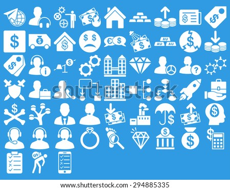 Commerce Icon Set. These flat icons use white color. Glyph images are isolated on a blue background.  - stock photo
