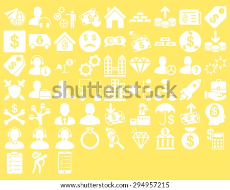 Commerce Icon Set. These flat icons use white color. Glyph images are isolated on a yellow background.  - stock photo