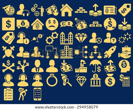 Commerce Icon Set. These flat icons use yellow color. Glyph images are isolated on a blue background.  - stock photo