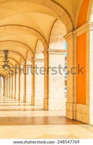 Commerce Square century Arcades in Lisbon, Portugal - stock photo