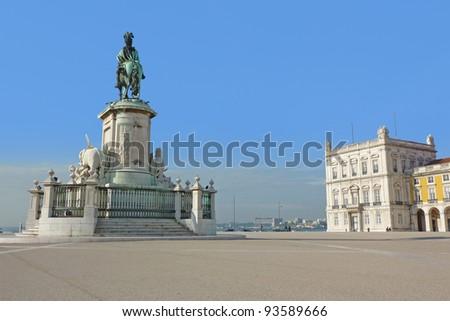 Commerce Square in Lisbon, Portugal - stock photo