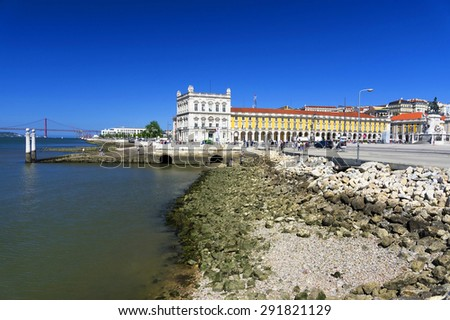 Commerce Square (Portuguese: Praca do Comercio) in Lisbon, Portugal. - stock photo
