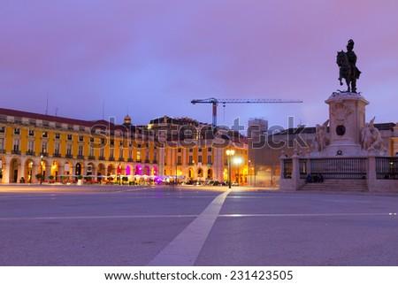 Commerce square (Praca do Comercio) in Lisbon at night, Portugal - stock photo