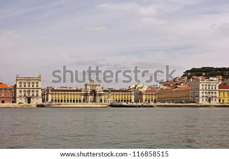 Commerce Square  (Praca do Comercio) in Lisbon seen from the Tagus River, Portugal - stock photo
