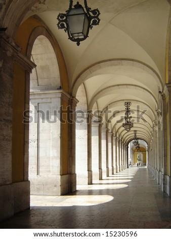 Commerce Square 18th century Arcades in Lisbon, Portugal - stock photo