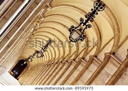 Commerce Square 18th century, Arcades in Lisbon, Portugal - stock photo
