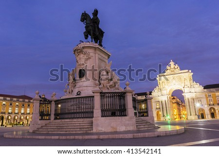 Commerce Square with Rua Augusta Arch in Lisbon in Portugal in the morning - stock photo