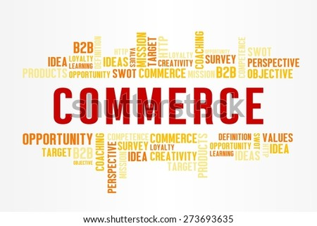 COMMERCE word cloud with business concept in white background - stock photo