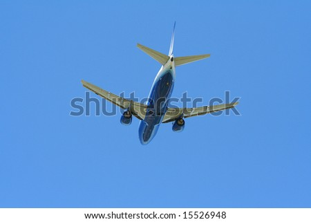 Commercial aircraft flying - stock photo