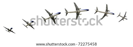 Commercial airline passenger jet airplane in flight. Great details for your advertising broshure. - stock photo