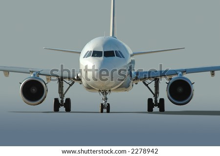 Commercial airliner taxiing with neutral background - stock photo