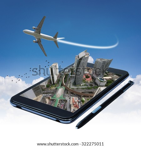 Commercial airplane and travel maps on smartphones. The concept of easy travel.