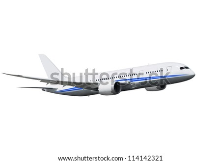 commercial airplane on white background with path - stock photo