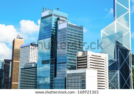 Commercial Buildings in Hong Kong - stock photo