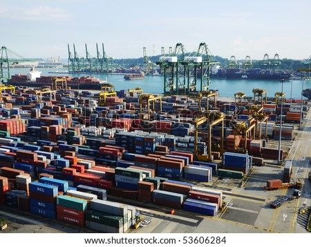 commercial container port - stock photo