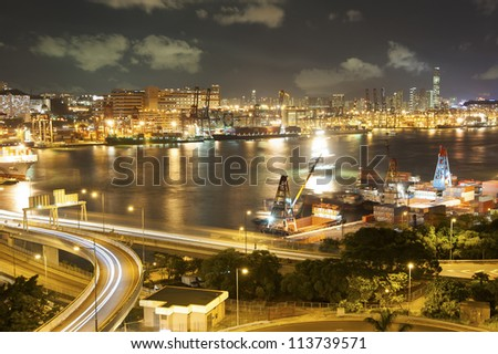 commercial container port and highway in Hong Kong - stock photo