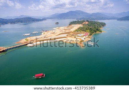 commercial contruction project on small island in kenyir lake terengganu malaysia - stock photo