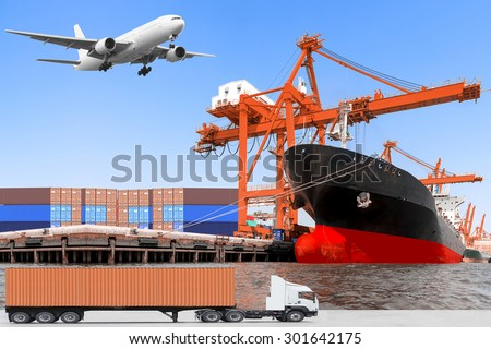 commercial delivery cargo container truck and container ship being unloaded and cargo plane flying above in the harbor for logistic concept - stock photo